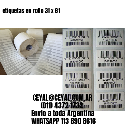 etiquetas en rollo 31 x 81